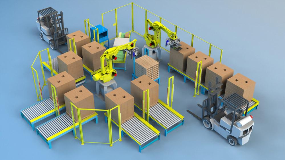 Комплекс ROBOMATIC интегрированный под задачу паллетирования продукции